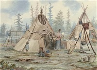 indian camp with two wigwams - northern ontario by william wallace armstrong