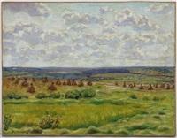 paysage aux meules de foin by appolinari mikhailovich vasnetsov
