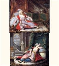 deux sultans allongées dans un intérieur ottoman (pair) by le suire