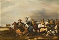 escarmouche de cavalerie by abraham van der hoef