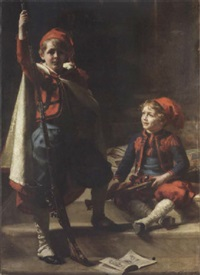 zouaves - portrait of francis and philip mond, sons of emile mond, esq. by sigismund christian hubert goetze