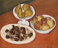 a still life with pears, boletus, and apples by lev simak