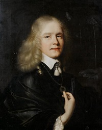 portrait of a gentleman in a black mantle and a white chemise by pieter nason
