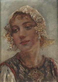 a girl in a folk costume by maria (philips-weber) weber