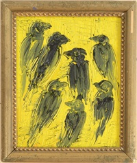 finches (black & yellow) by hunt slonem
