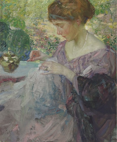 young woman sewing by richard edward miller