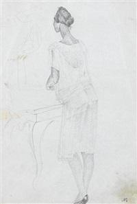 female portrait (+ another; 2 works) by alexandr nikolaevich samokhvalov
