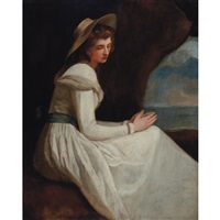 portrait of lady hamilton as ariadne by george romney