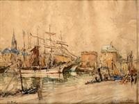 suite de trois ports : bordeaux, saint malo et honfleur (3 works) by georges rose