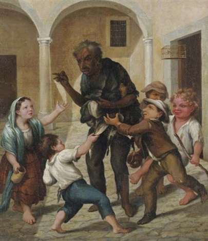 el claco de risa un hombre en harapos rodeado de niños by josé agustín arrieta