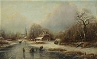 paysage aquatique en hollande animé de patineurs à glace et de personnages près d`un village by cornelis lieste