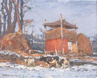 cattle grazing in a snow covered landscape by george glenn newell