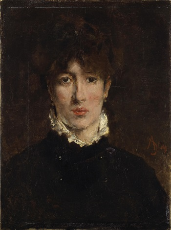 a portrait of a woman, thought to be sarah bernhardt by alfred stevens