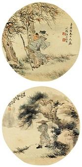 高士 (二帧) 镜心 绢本 (2 works) by ren yu and ren bonian