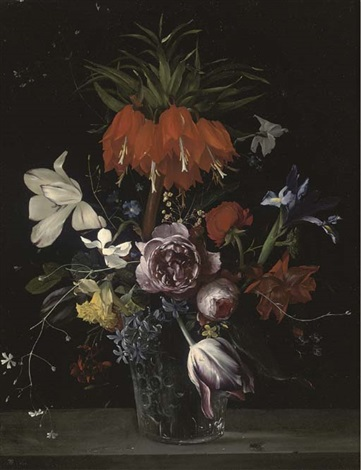 a crown imperial lily tulips roses hyacinths and other flowers in a glass vase on a stone ledge by ambrosius bosschaert the elder
