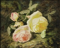roses et papillon by simon saint-jean