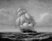 clipper ship with wind in her sails by jean laurent