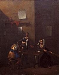scène de taverne avec fumeur, buveur et joueuse de guitare by jan miel
