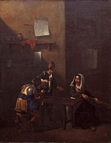 scène de taverne avec fumeur buveur et joueuse de guitare by jan miel