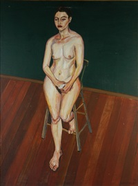 nude with bandaged thumb by lewis miller