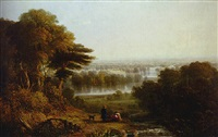 richmond park with a family seated in the foreground by thomas christopher hofland