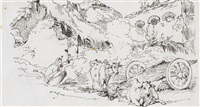 study of a woman and cattle; study of an oxen and figures by george chinnery