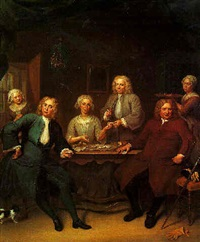portrait of group family seated at a table in interior, eating oysters by jan maurits quinkhardt