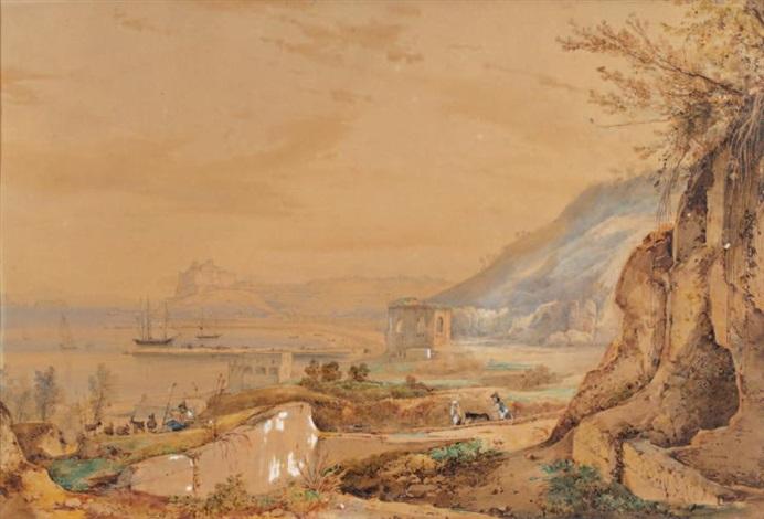 vue dun port animé en italie by giacinto gigante