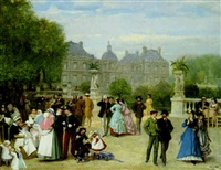 in the luxembourg gardens, paris by eugene louis theodore glueck