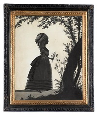 a silhouette of miss mary boddam, standing before a tree, profile to the right, wearing shoes dressed with ribbon bows, dress with wide sash, tied in a large bow at the back of her waist by william wellings
