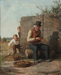 two boys stealing apples, while older man is taking a rest and rolls a cigarette by david monies