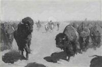lane through the buffalo herd by frederic remington