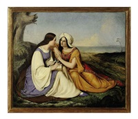two women conversing in a landscape by johann friedrich overbeck