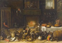singerie dans une cuisine by ferdinand van kessel