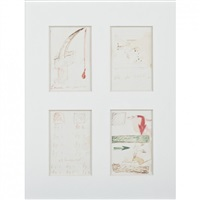l'arme du pauvre, celle du riche, 1966, et brusquement, 1966, direction, 1966, 4 dessins by marcel broodthaers