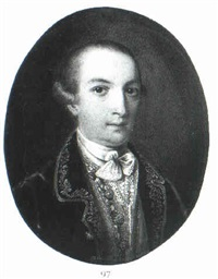 portrait of a gentleman, bust length, wearing a       gold-embroidered jacket and a gold waistcoat... by e. peter
