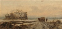 winter landscape with wood haulers by gabriele arnhardt-deninger