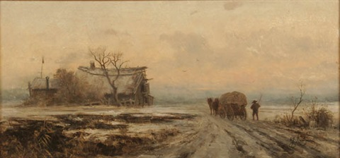 winter landscape with wood haulers by gabriele arnhardt deninger