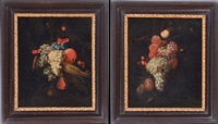 still lifes with fruit (pair) by continental school