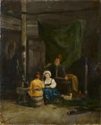 un couple conversant avec un russe dans un intérieur de paysan by jacques-albert senave