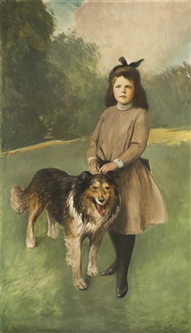 girl with dog by john white alexander