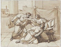 caracalla murdering his brother geta in the arms of their mother by michael koeck
