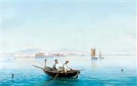 pêcheurs dans une barque au large de naples by la pira