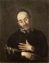 santo in adorazione del crocifisso by giuseppe antonio pianca