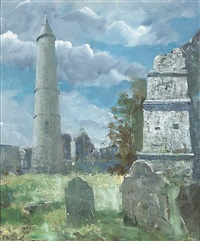 the round tower, ardmore, county waterford by james le jeune
