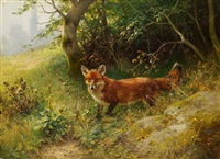 fuchs (+ rehbock, oil on canvas; 2 works) by ludwig benno fay