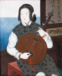 jeune musicienne jouant du gekkin (by yagi) by japanese school (20)