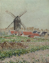 moulin à melle: village with a windmill by etienne de lierres