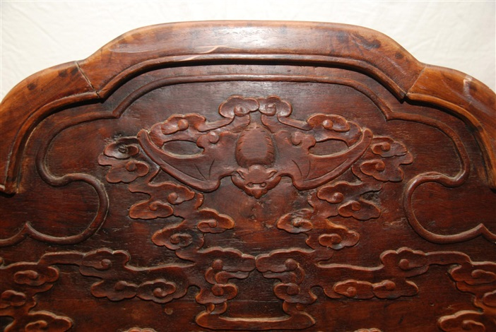 chinese carved hardwood jade inlay dragons bench
