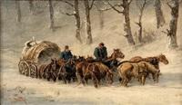 traineau dans la neige by stanislaw polian wolski